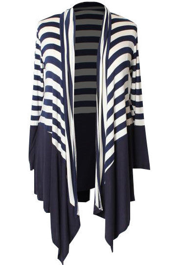 Amelie Striped Waterfall Cardi - Navy/White