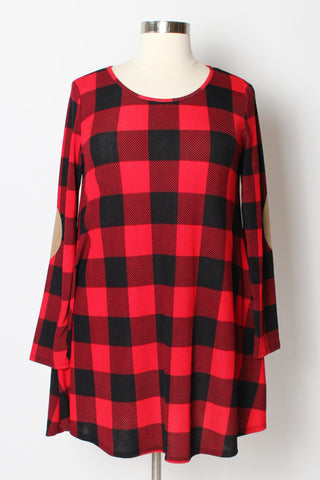Plus Size Clothing for Women - Shianne Plaid Tunic Dress w/ Pockets - Society+ - Society Plus - Buy Online Now! - 1
