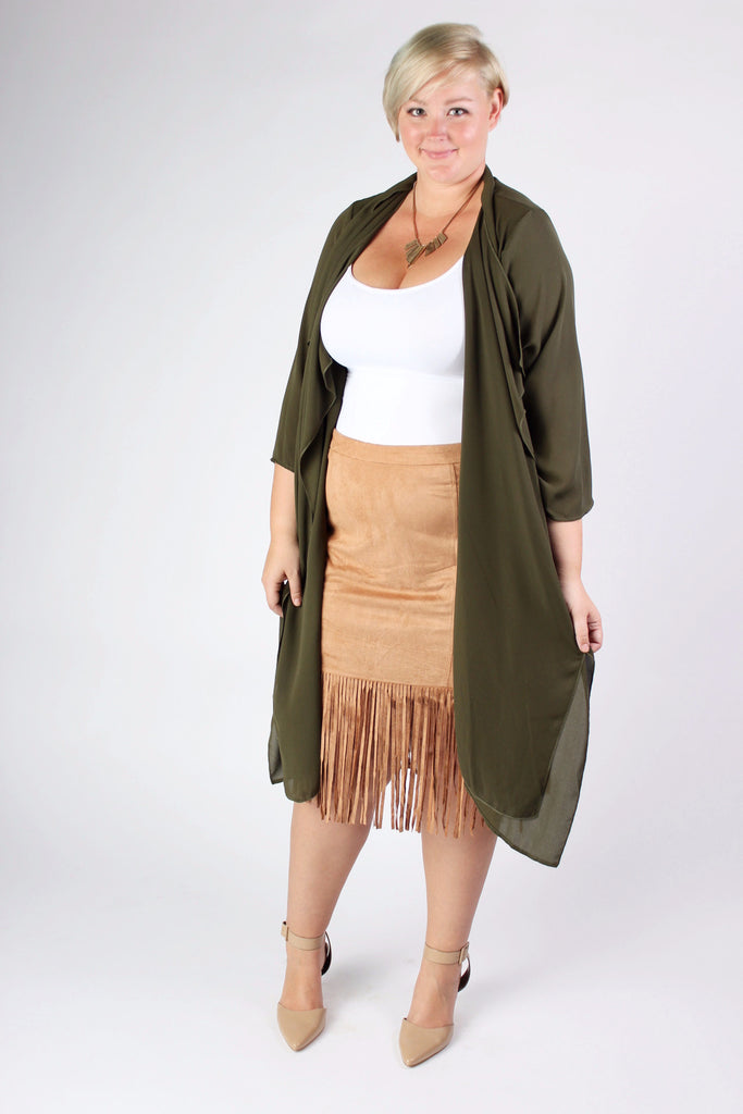Plus Size Clothing for Women - Fringed Skirt  - Caramel - Society+ - Society Plus - Buy Online Now! - 1