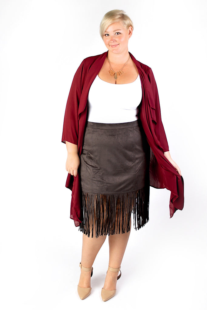 Plus Size Clothing for Women - Fringed Skirt - Charcoal - Society+ - Society Plus - Buy Online Now! - 1