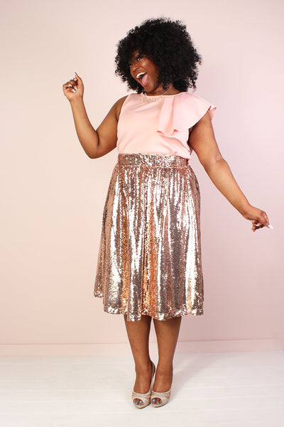 Mermaiden Sequin Skirt - Rose Gold