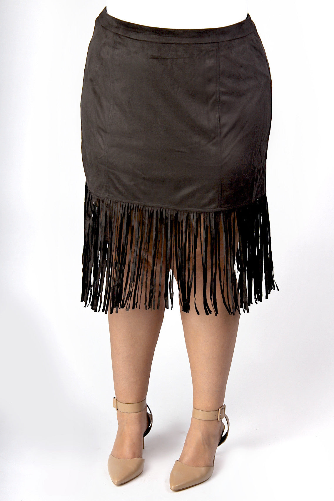 It's safe to say suede is having a moment, but we aren't complaining, and this fringe skirt is definitely feeding our obsession. With the fit of a pencil skirt, but all the fun of Sonny and Cher, this skirt brings the appeal of a structured fit together with the world of hippy style. We feel pretty groovy about it. Also available in caramel . 100% Polyester Hand wash cold Hang dry Imported Length Size: 12/14 29