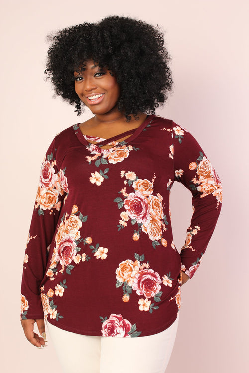 Claire Floral Tunic - Burgundy