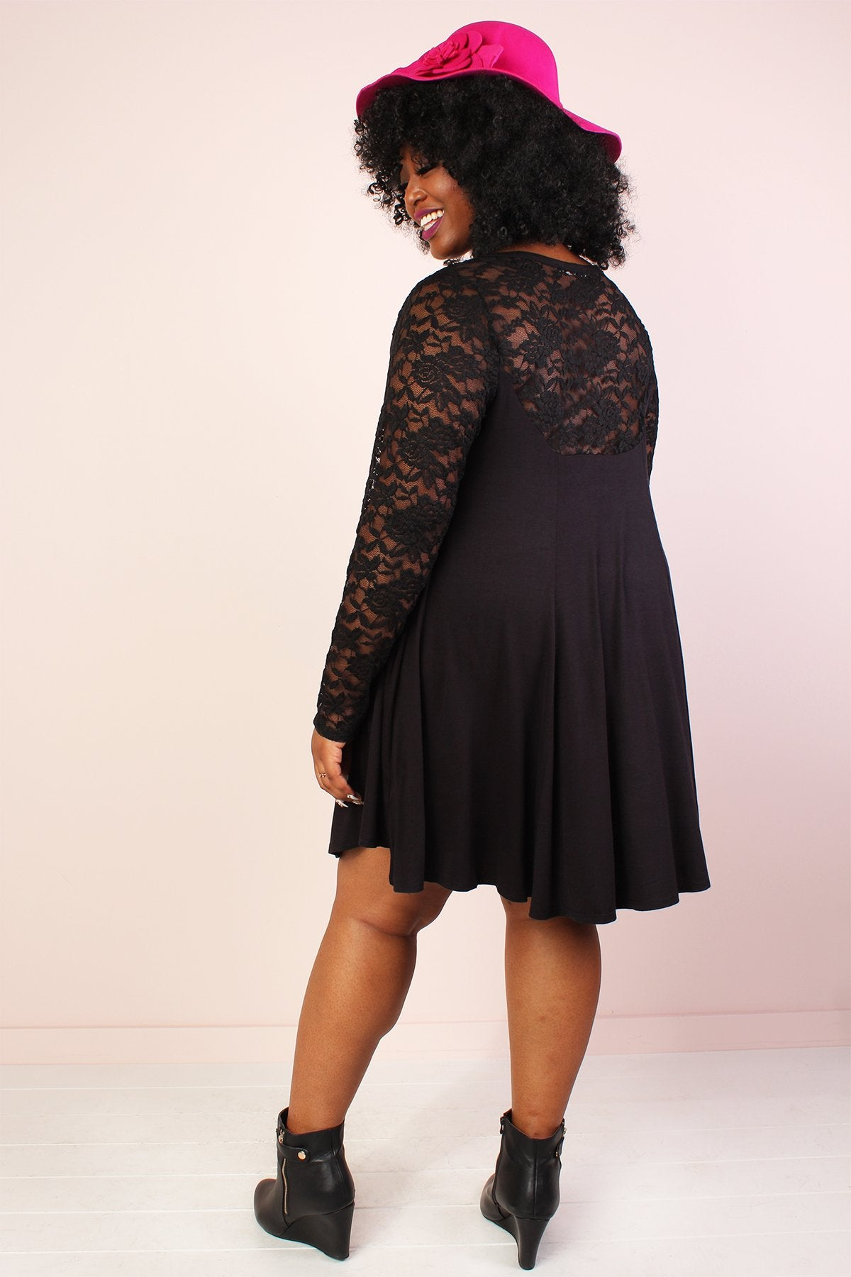 Tasha Lace V-Neck Tunic Dress - Black