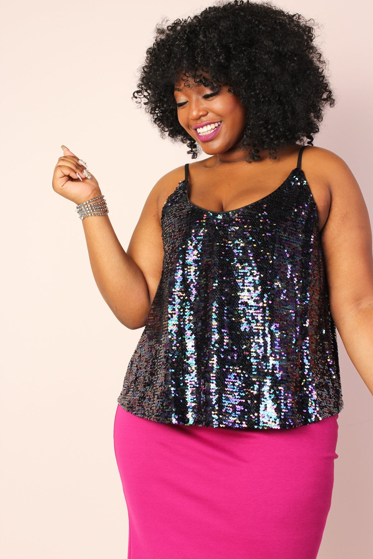 Aria Sequin Tank - Midnight Sparkle