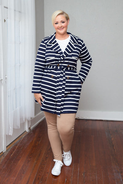 Plus Size Clothing for Women - Juliette Striped Jacket - Navy/Ivory - Society+ - Society Plus - Buy Online Now! - 1