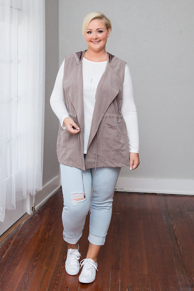 Plus Size Clothing for Women - Parker Hooded Vest - Khaki - Society+ - Society Plus - Buy Online Now! - 4