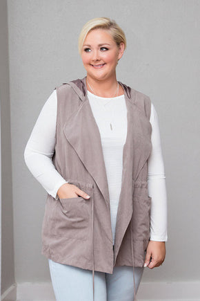 Plus Size Clothing for Women - Parker Hooded Vest - Khaki - Society+ - Society Plus - Buy Online Now! - 1