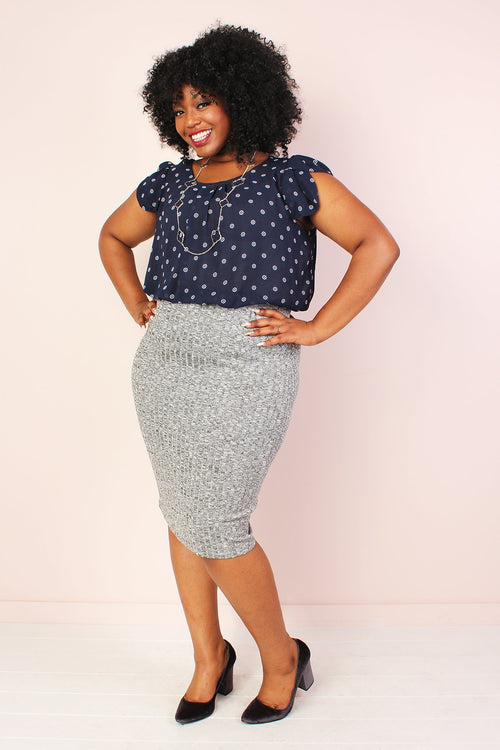 Sadie Ribbed Pencil Skirt- Heather Grey