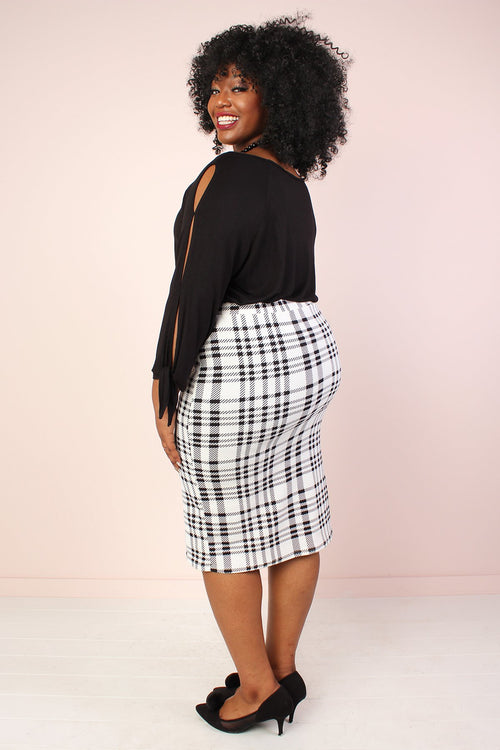 Harper Super Stretch Pencil Skirt - White Plaid