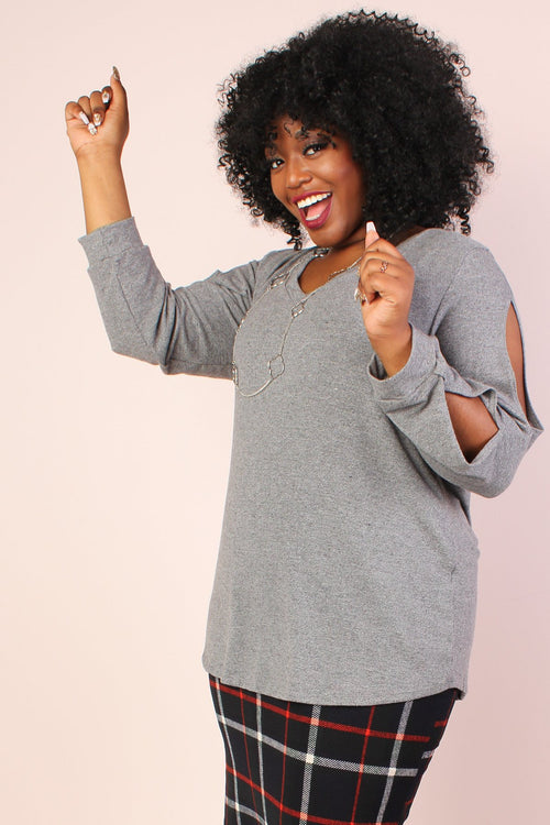 S+ Basics Split Long Sleeve Knit Tunic - Grey