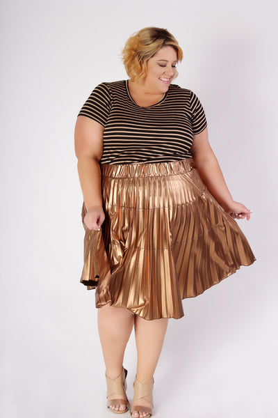 Plus Size Clothing for Women - Birthday Stripes Tee - Bronze - Society+ - Society Plus - Buy Online Now! - 3