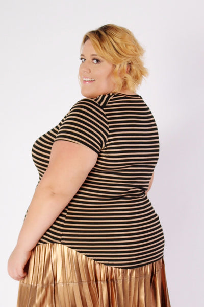 Plus Size Clothing for Women - Birthday Stripes Tee - Bronze - Society+ - Society Plus - Buy Online Now! - 2