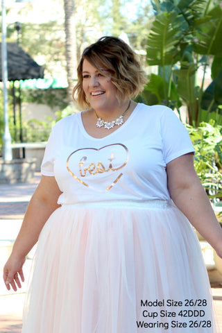 Plus Size Clothing for Women - 'Best' Bestie Graphic Tee - White - Society+ - Society Plus - Buy Online Now! - 1