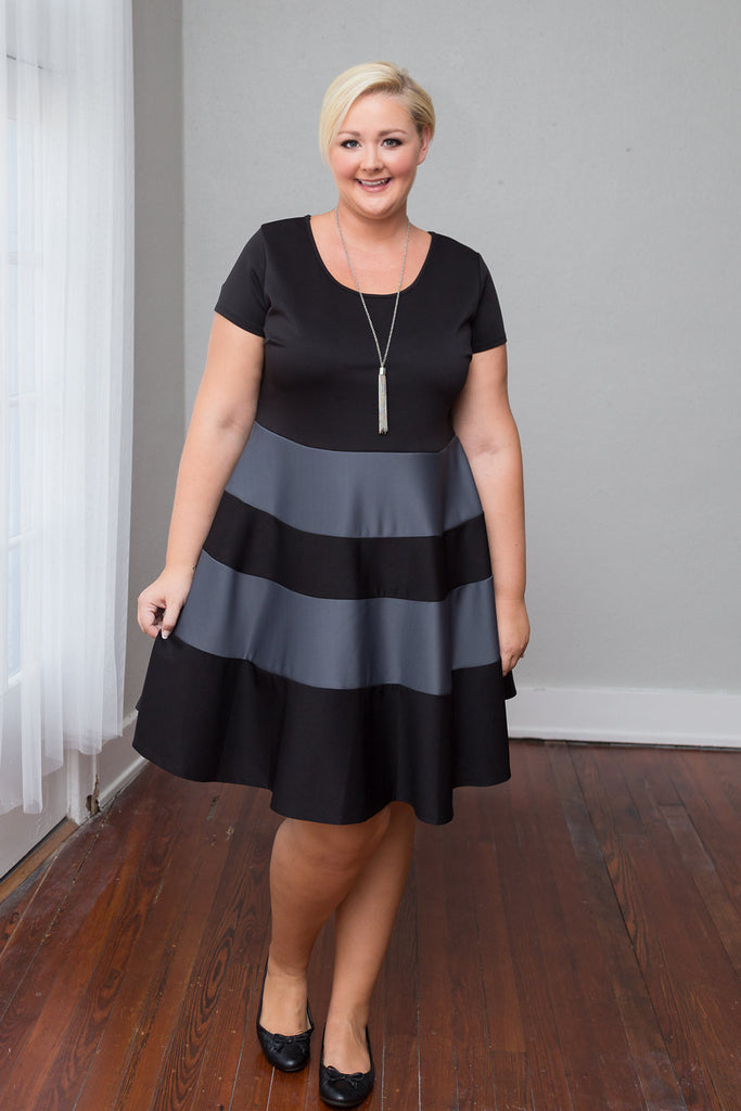 Plus Size Clothing for Women - Taryn Stripe Skater Dress - Black/Charcoal - Society+ - Society Plus - Buy Online Now! - 1