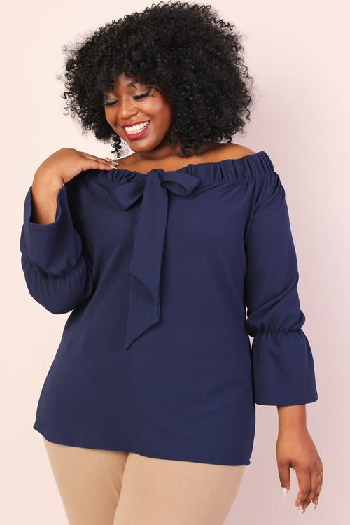 Leah Off Shoulder Stretchy Bow Top - Navy (Sizes 10 - 24 left!)