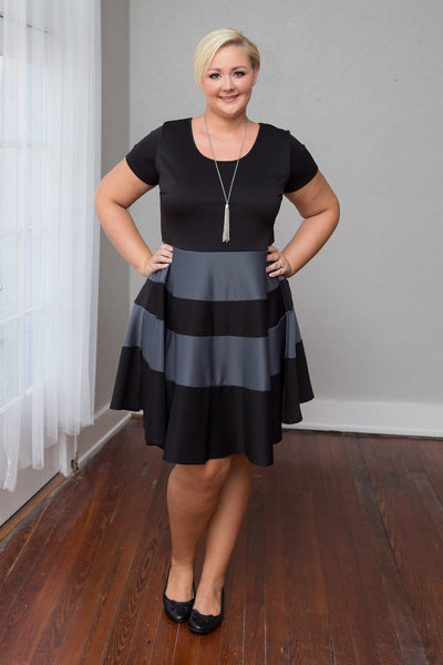 Plus Size Clothing for Women - Taryn Stripe Skater Dress - Black/Charcoal - Society+ - Society Plus - Buy Online Now! - 3