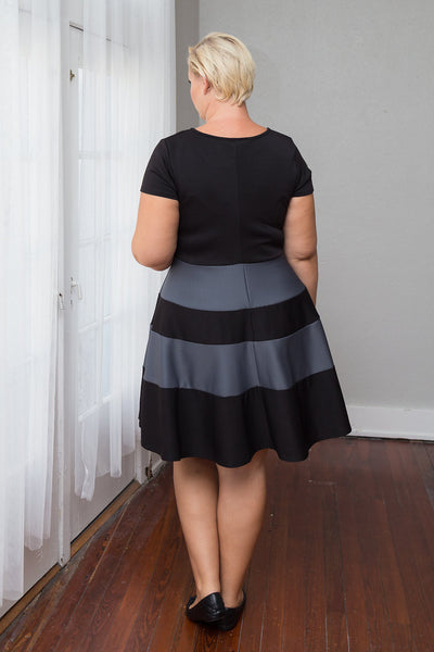 Plus Size Clothing for Women - Taryn Stripe Skater Dress - Black/Charcoal - Society+ - Society Plus - Buy Online Now! - 2