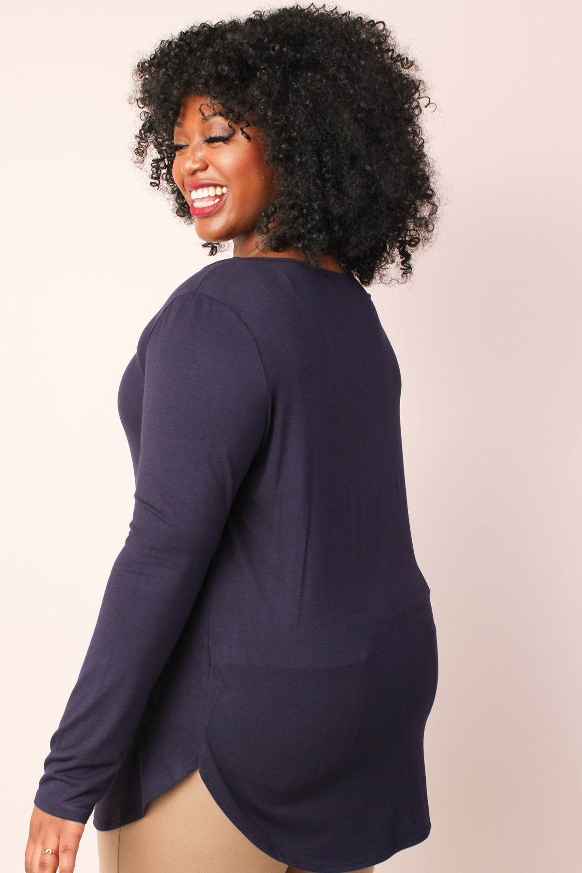 S+ Basics Jersey Tunic with Crisscross Neck - Navy