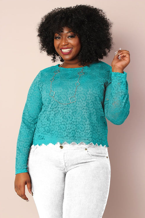 Lucy 2-in-1 Stretchy Lace Top - Teal