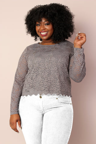 Miss Audra Fitted Long Sleeve Top - Grey w/Wine
