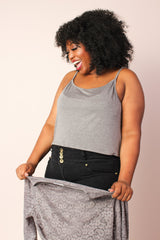 Lucy 2-in-1 Stretchy Lace Top - Dark Grey