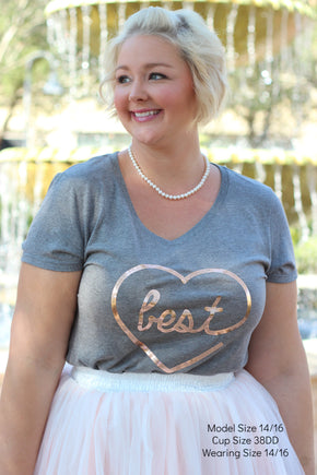 Plus Size Clothing for Women - 'Best' Bestie Graphic Tee - Grey - Society+ - Society Plus - Buy Online Now! - 1