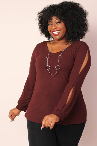 Miss Audra Fitted Long Sleeve Top - Charcoal/White