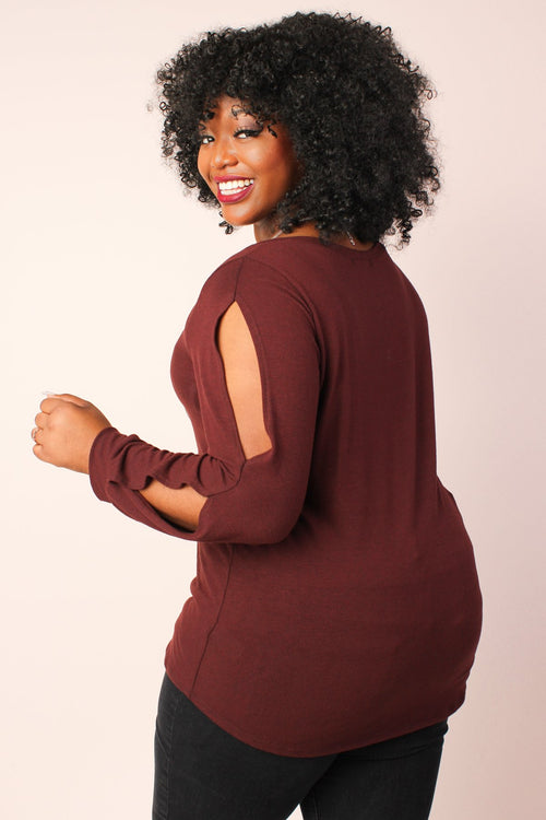 S+ Basics Split Long Sleeve Knit Tunic - Burgundy