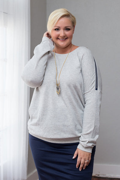 Plus Size Clothing for Women - Taylor Shoulder Zip Sweater - Heather Grey - Society+ - Society Plus - Buy Online Now! - 2
