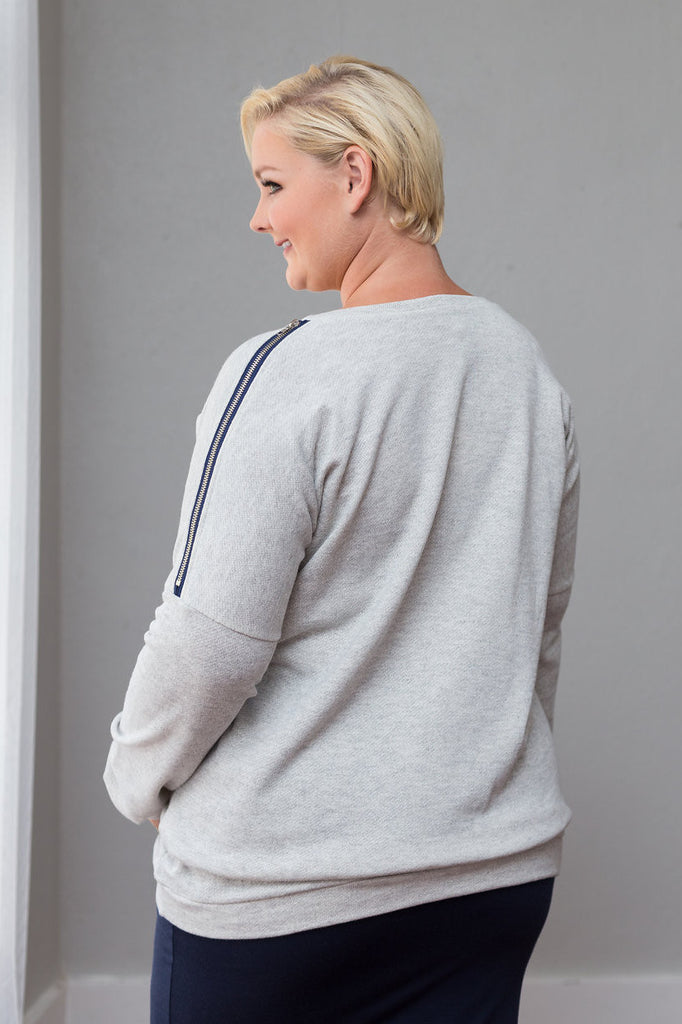 Plus Size Clothing for Women - Taylor Shoulder Zip Sweater - Heather Grey - Society+ - Society Plus - Buy Online Now! - 1