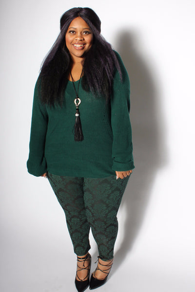 High Waisted Serena Damask Pull On Skinny Pant - Dark Green