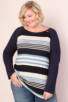 Long Sleeves Fall Striped Print Scoop Neck Party Dress/Tunic