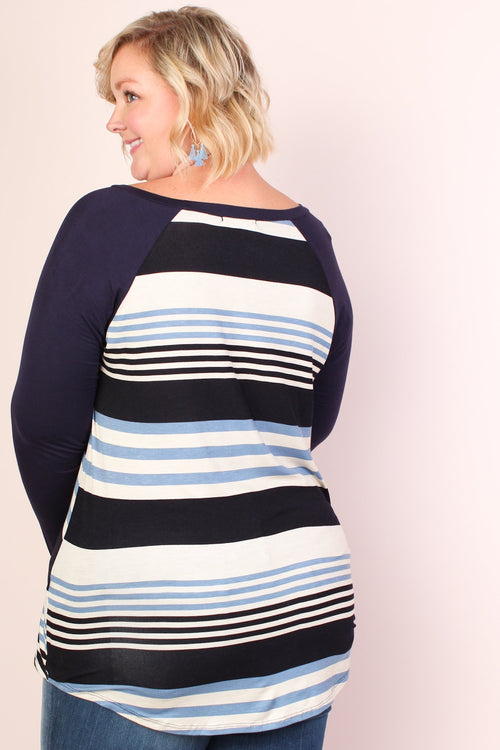 Amelia Stripe Baseball Tunic - NAVY
