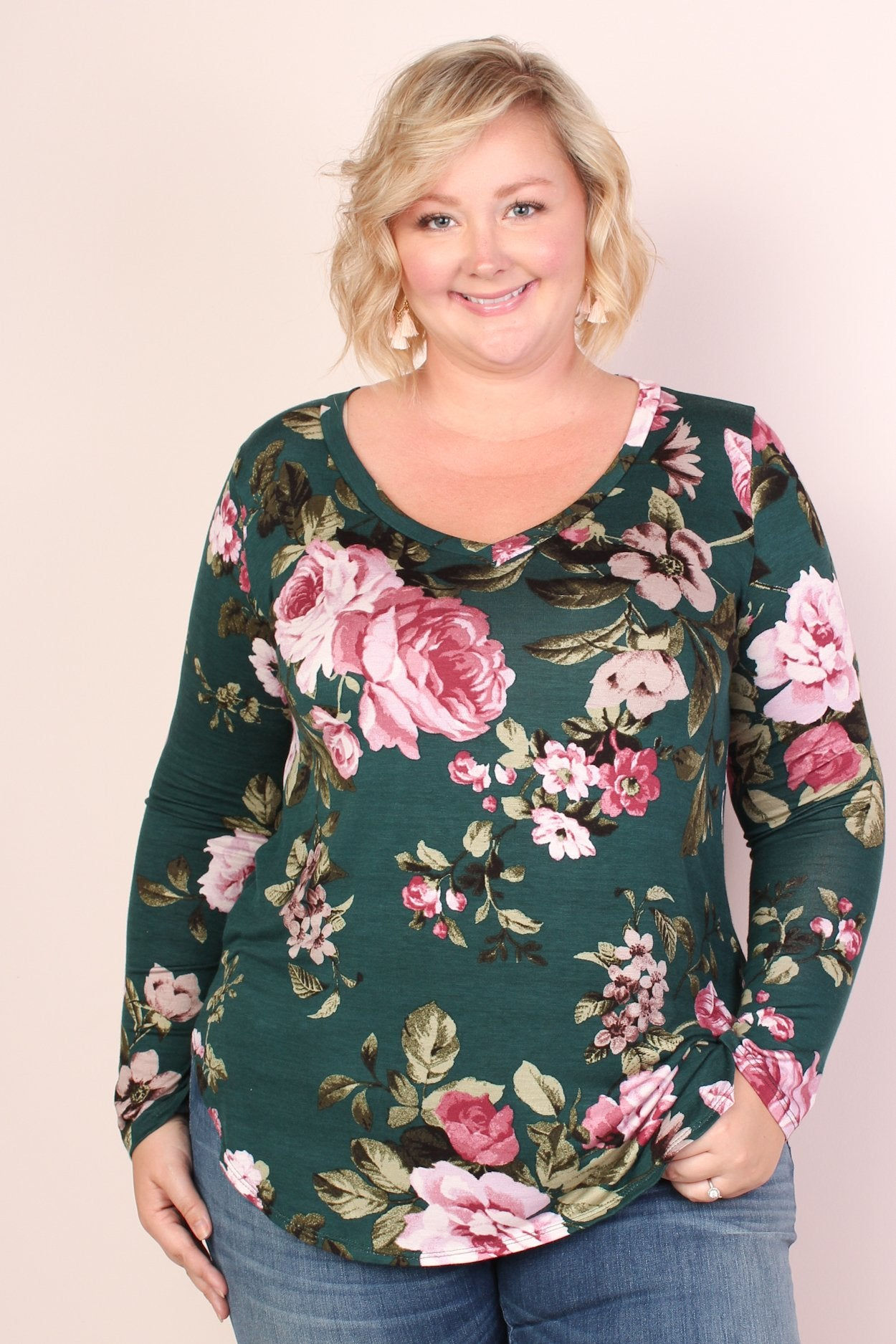 Blaire Floral Tunic - Teal & Lavender