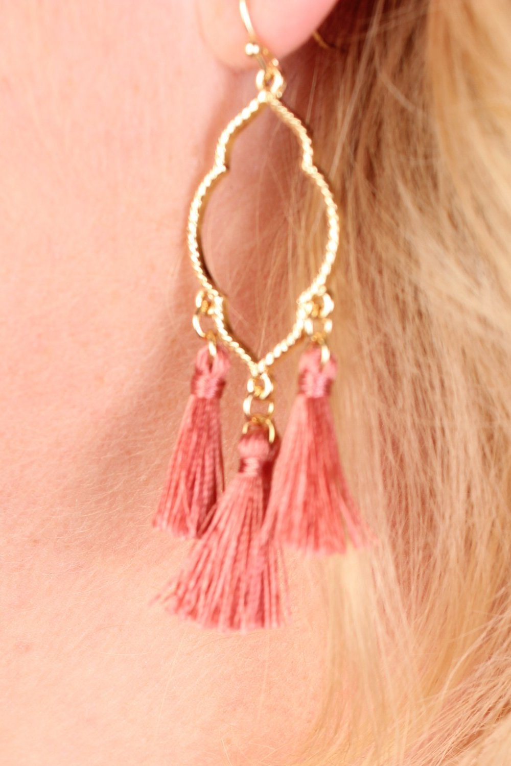 Clover Tassel  Earrings - Mauve