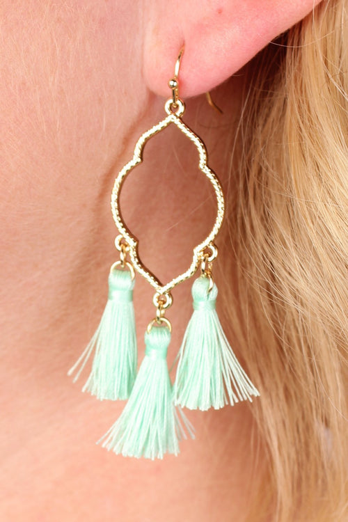 Clover Tassel Earrings - Mint