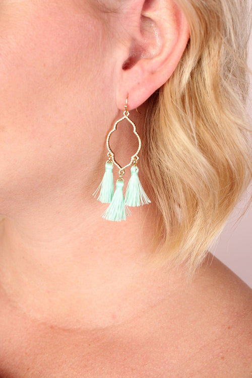 Clover Baby Tassel Dangle Earrings - Mint