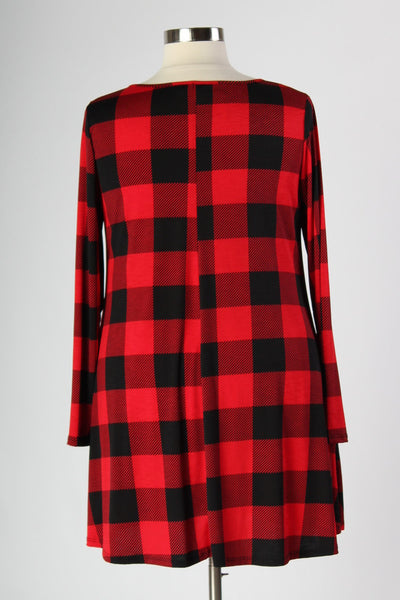 Plus Size Clothing for Women - Plaid Print Tunic Dress with Pockets - Society+ - Society Plus - Buy Online Now! - 4