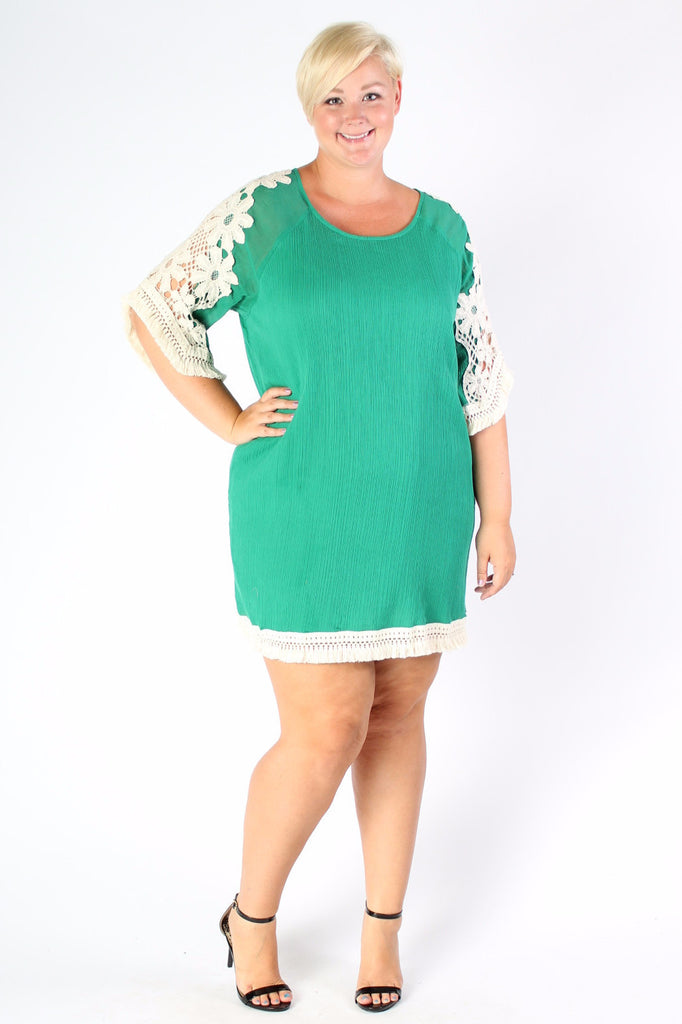 Plus Size Clothing for Women - Crochet Shift Dress - Green - Society+ - Society Plus - Buy Online Now! - 1