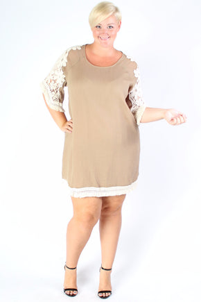 Plus Size Clothing for Women - Crochet Shift Dress - Taupe - Society+ - Society Plus - Buy Online Now! - 1