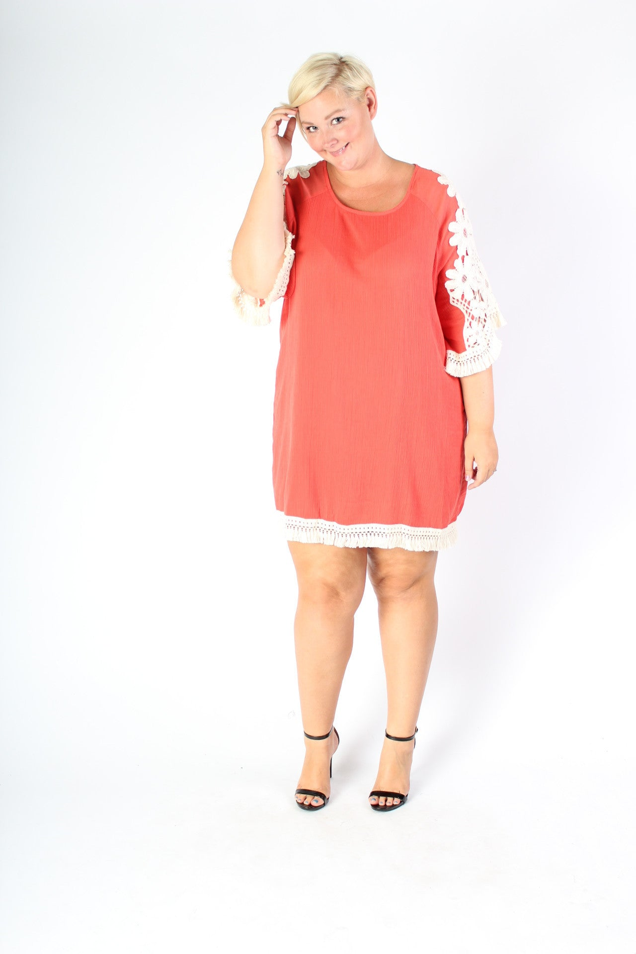 Plus Size Clothing for Women - Crochet Shift Dress - Papaya - Society+ - Society Plus - Buy Online Now! - 5