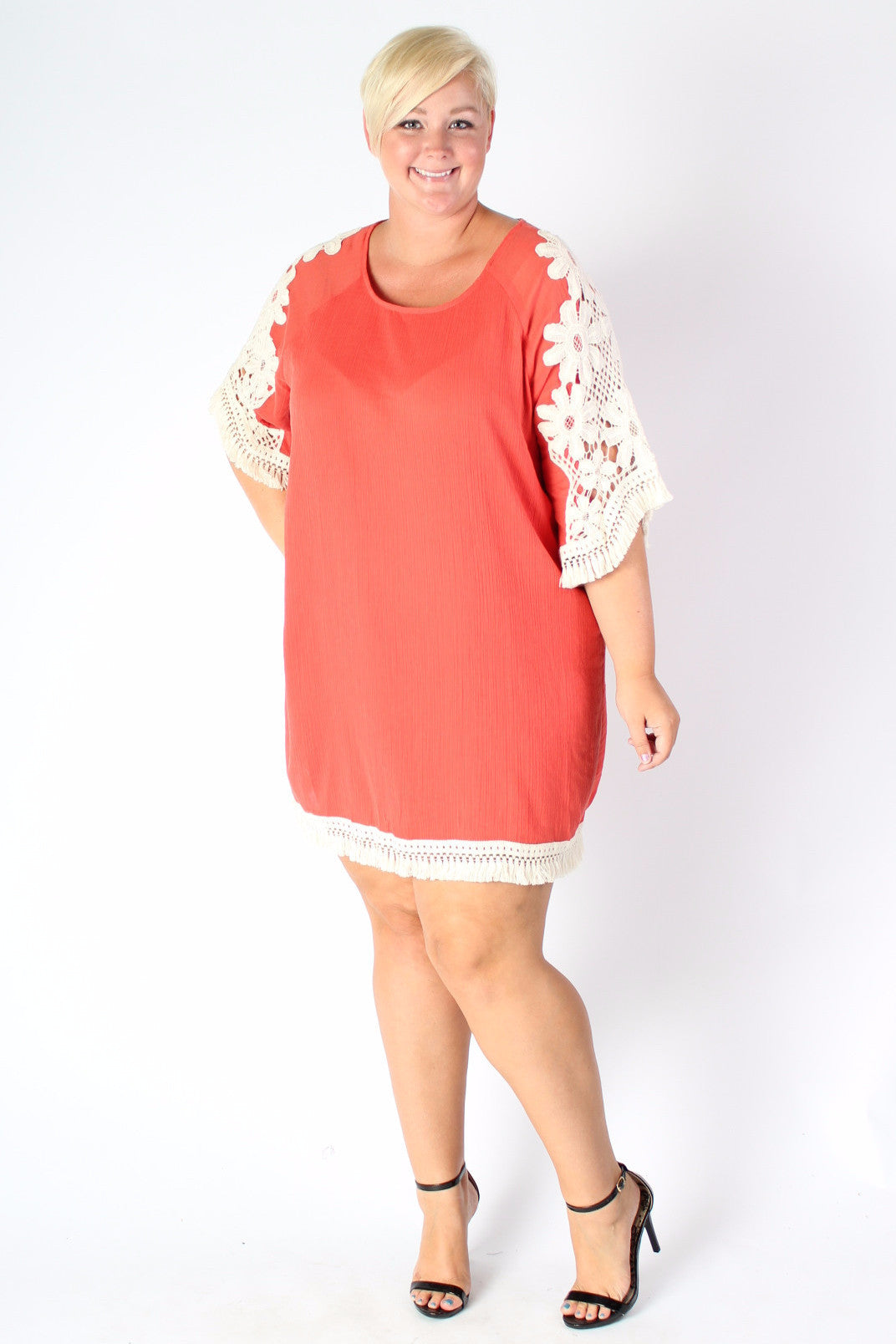 Plus Size Clothing for Women - Crochet Shift Dress - Papaya - Society+ - Society Plus - Buy Online Now! - 1