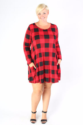Plus Size Clothing for Women - Plaid Print Tunic Dress with Pockets - Society+ - Society Plus - Buy Online Now! - 1