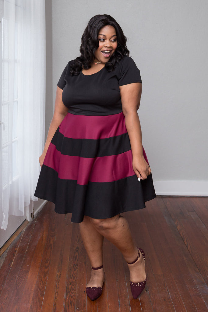 Plus Size Clothing for Women - Taryn Stripe Skater Dress - Black/Marsala - Society+ - Society Plus - Buy Online Now! - 1