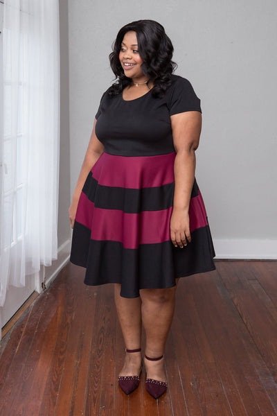 Plus Size Clothing for Women - Taryn Stripe Skater Dress - Black/Marsala - Society+ - Society Plus - Buy Online Now! - 2