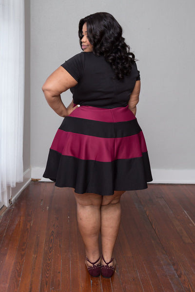 Plus Size Clothing for Women - Taryn Stripe Skater Dress - Black/Marsala - Society+ - Society Plus - Buy Online Now! - 3