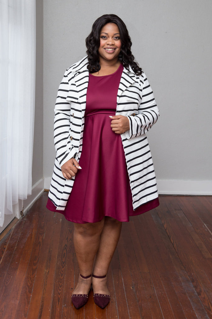 Plus Size Clothing for Women - Juliette Striped Jacket - Ivory/Black - Society+ - Society Plus - Buy Online Now! - 1