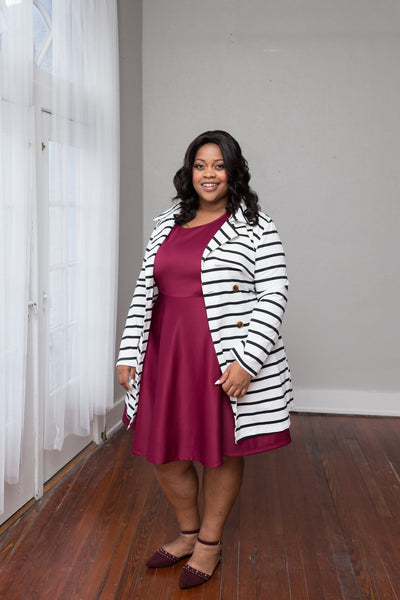 Plus Size Clothing for Women - Juliette Striped Jacket - Ivory/Black - Society+ - Society Plus - Buy Online Now! - 2