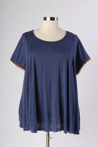 Plus Size Clothing for Women - Comfy  Embroidery Contrast - Indigo - Society+ - Society Plus - Buy Online Now! - 1